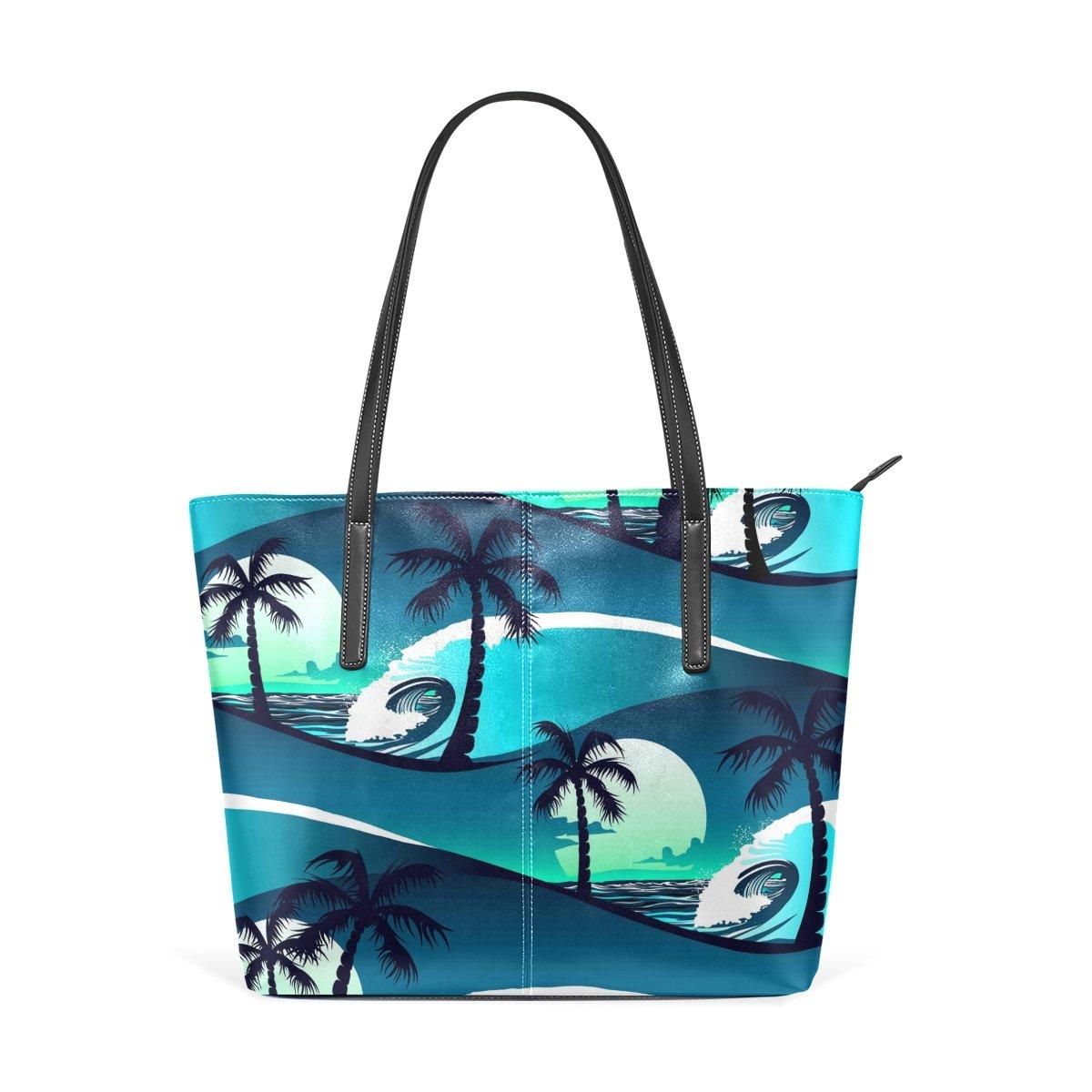 f386337a1bf4 Fashion Blue Palm Trees Purse Women's Waterproof Handbags Ladies PU ...