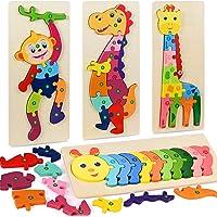 Fabu 4pz Puzzles de Madera Educativos para Bebé niños 2 3 4 5 6 años, Rompecabezas de Madera Bebe Puzzle Bebé Preescolar…