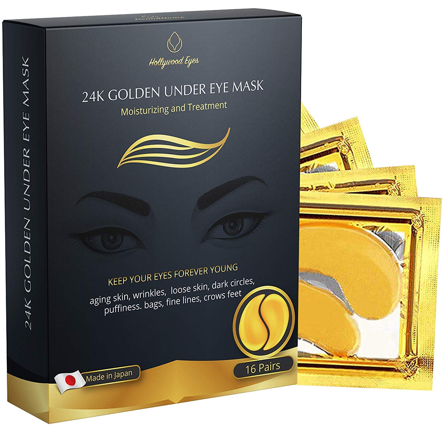Under Eye Mask 24GoldPatches, Anti-Aging with Hyaluronic Acid and Collagen, Pads for Moisturizing and Reducing Dark Circles, Puffiness, Wrinkles, 16 pairs by Hollywood Eyes