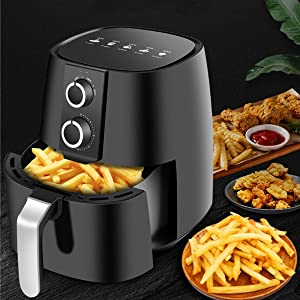 YXB 5L Multifunction Air Fryer,Chicken Hot Air Fryers Oil Free Health Fryer Oven Pizza Cooker Dehydrator Smart Touch LCD Electric Airfryer Standard