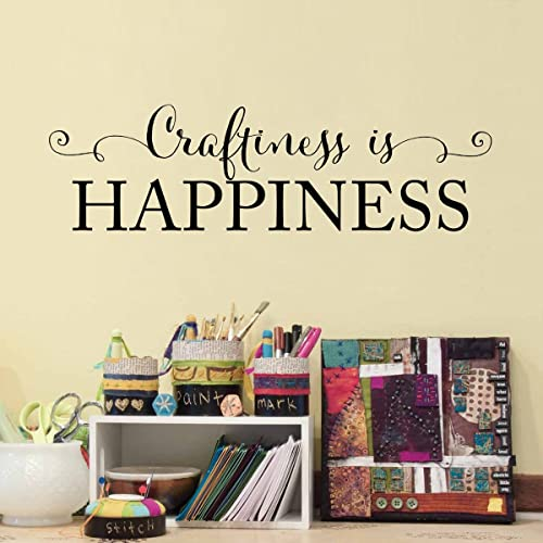 Craftiness Is Happiness Wall Decal   Craft Room Wall Art   Art Studio Decal    Small