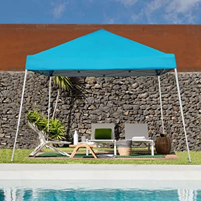 Blissun 10' x 10' Outdoor Pop-Up Slant Leg Canopy, Folding Tent Portable Pergola for Commercial Wedding Party BBQ Event, Sunshade Waterproof Heavy Duty (Blue) : Garden & Outdoor