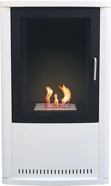 PURLINE THALASSA Estufa de Bioetanol en acero blanco y negro, portátil, sin salida de humos, cristal templado