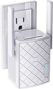 Nextbox WiFi Extender 1200 Mbps - 2.4 & 5GHz Dual Band Network - Signal Booster WPS Quick Connection, LAN/Ethernet, Wireless Repeater up to 3000sq.ft Range & 32 Devices, Alexa Compatible (White)
