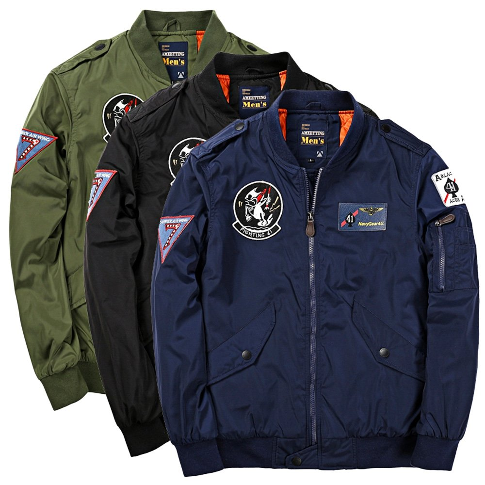 f92f5d27fc1fc Hannea Badge Patched Zip up Bomber Jacket  Amazon.in  Sports ...
