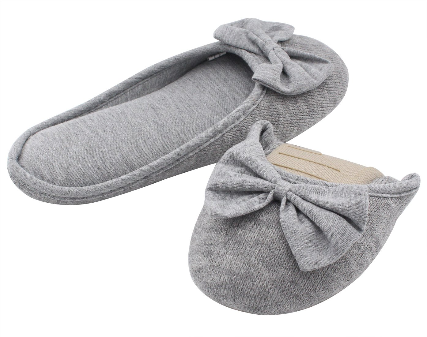 HomeTop Women's Cozy Cashmere Cotton Closed Toe House Slippers with Cute Bow Accent (Small/5-6 B(M) US, Gray)