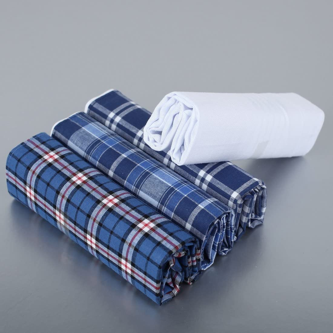 Y/&G Mens Fashion Handmade Fabric 4 Pack Cotton Handkerchiefs Set Pretty Designer