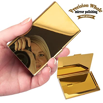 Amazon yobansa stainless steel gold business card holder yobansa stainless steel gold business card holder business card case creidt card holder for men and colourmoves Gallery