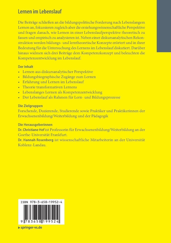 Lernen im Lebenslauf: Theoretische Perspektiven und empirische ...