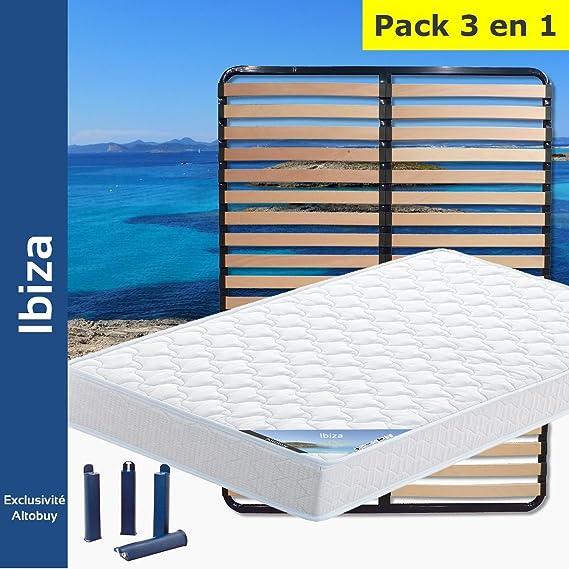 AltoBuy Ibiza - Pack Colchón + somier 130 x 190 + Patas: Amazon.es: Hogar
