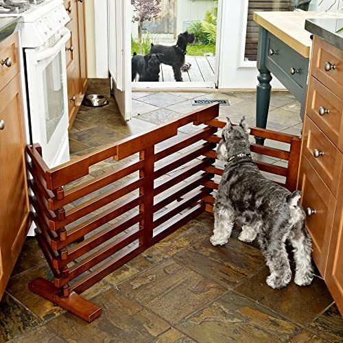Merry Products Gate-N-Crate Folding Pet Gate with Cherry Finish