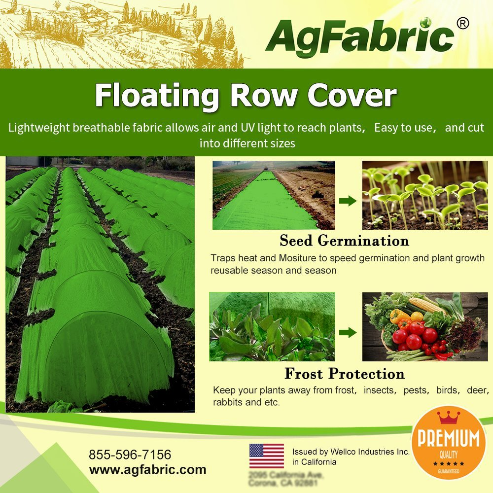 Agfabric Warm Worth Ultra-Heavy Floating Row Cover & Plant Blanket, 2.0oz Fabric of 5x50ft for Frost Protection, Harsh Weather Resistance& Seed Germination, Green