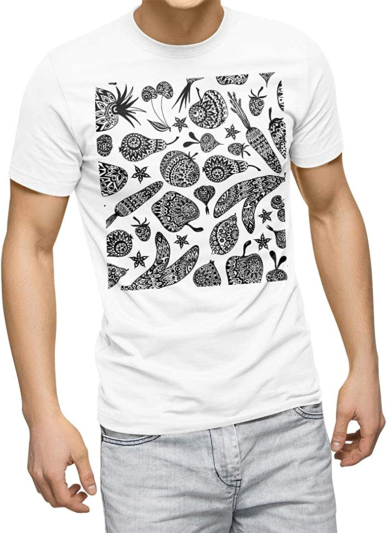 igsticker Graphic T-Shirt for Men XL Size White Crew Neck Printed Cotton T-Shirts 010159 Food Asian White Black