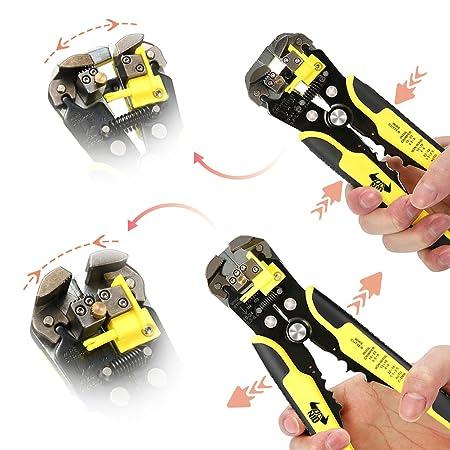 DANIU - Alicates Pelacables Automáticos y Alicates de Corte, incl. Cortador de Alambre/para Cables con Diámetro de 0.2 a 6 mm², Herramienta de Crimpado ...