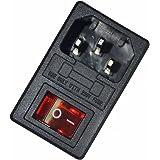 JOYNANO 3-in-1 Modulo di ingresso Modulo 5A Connettore a pedale a fusibile in vetro Luce rossa 3-Pin IEC320 C14 misura 1,5 mm Spessore pannello Confezione da 2