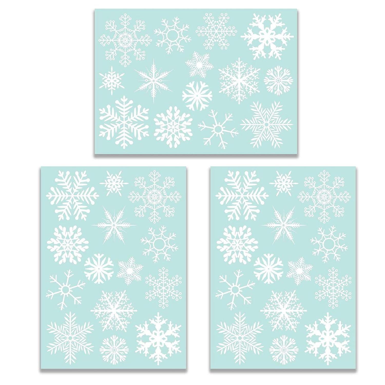 heekpek Decorazioni Natalizie Adesivo elettrostatico Fiocco di Neve in PVC 42PCS Snowflake / 3 Fogli Decorazione della Finestra di Natale Inverno Adesivo di Natale