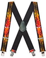 Suspender Store Mens Orange Flames Suspenders - 2 Inch Wide, Clip