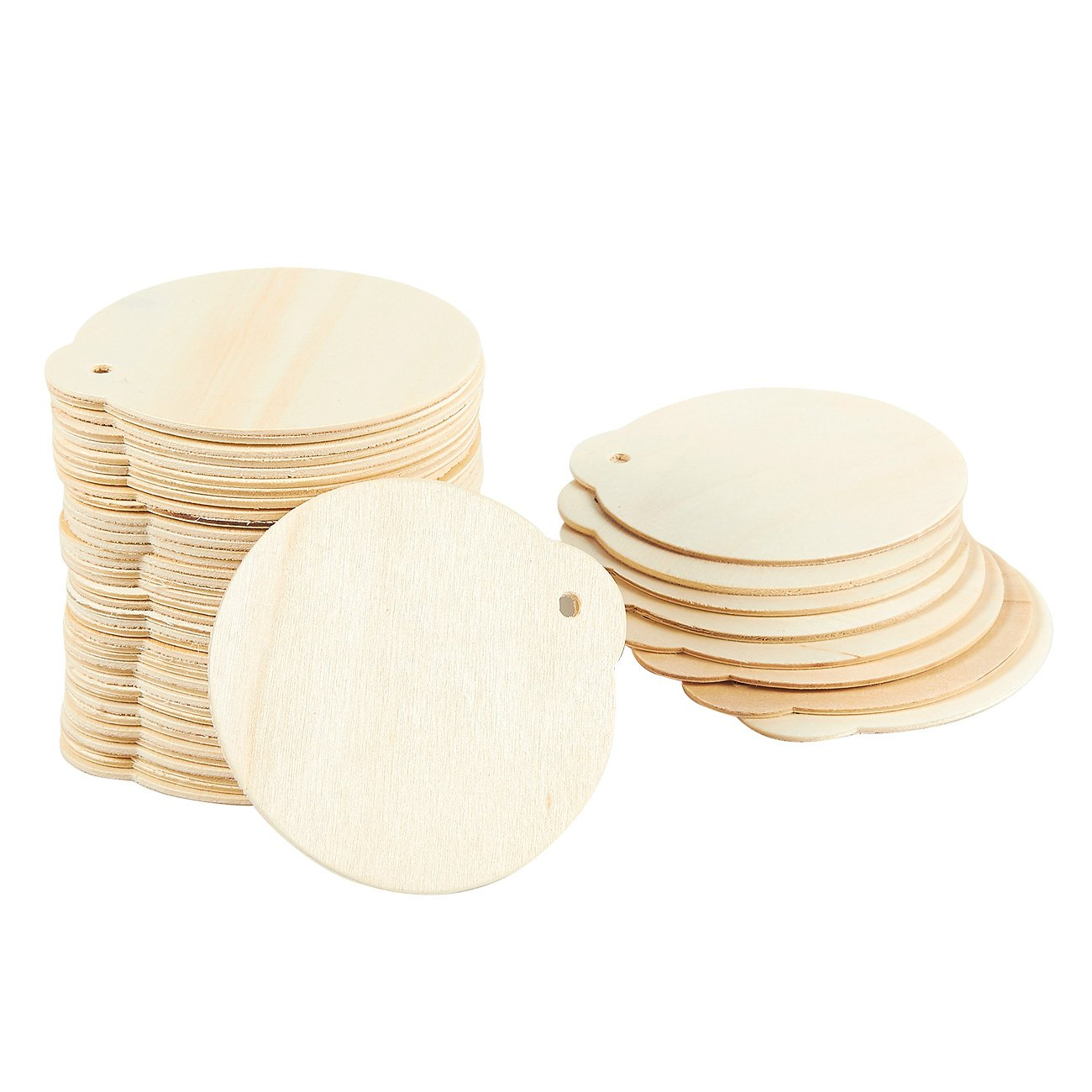 for DIY Craft 48-Pack Round Wood Discs Centerpiece 2.7 x 2.5 x 0.1 Inches Holiday Party Decoration Unfinished Wood Ornaments Wood Bauble Christmas Tree Pendants Ornaments Wood Circles