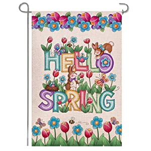 Shmbada Hello Welcome Spring Flowers Burlap Garden Flag, Bunny Bee Double Sided Vertical Outside Outdoor Yard Decoration, 12 x 18 Inch