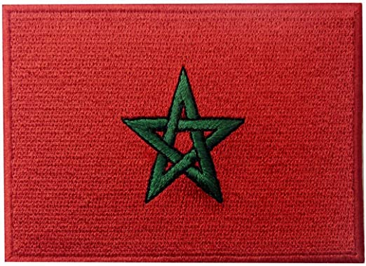 Bandera de Marruecos Marroquí Parche Bordado de Aplicación con Plancha: Amazon.es: Hogar