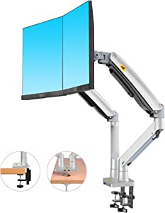 NB North Bayou Dual Monitor Desk Mount Stand Full Motion Swivel Computer Monitor Arm Fits 2 Screens up to 32'' with Load Capacity 6.6~26.4lbs for Each Monitor F195A-S