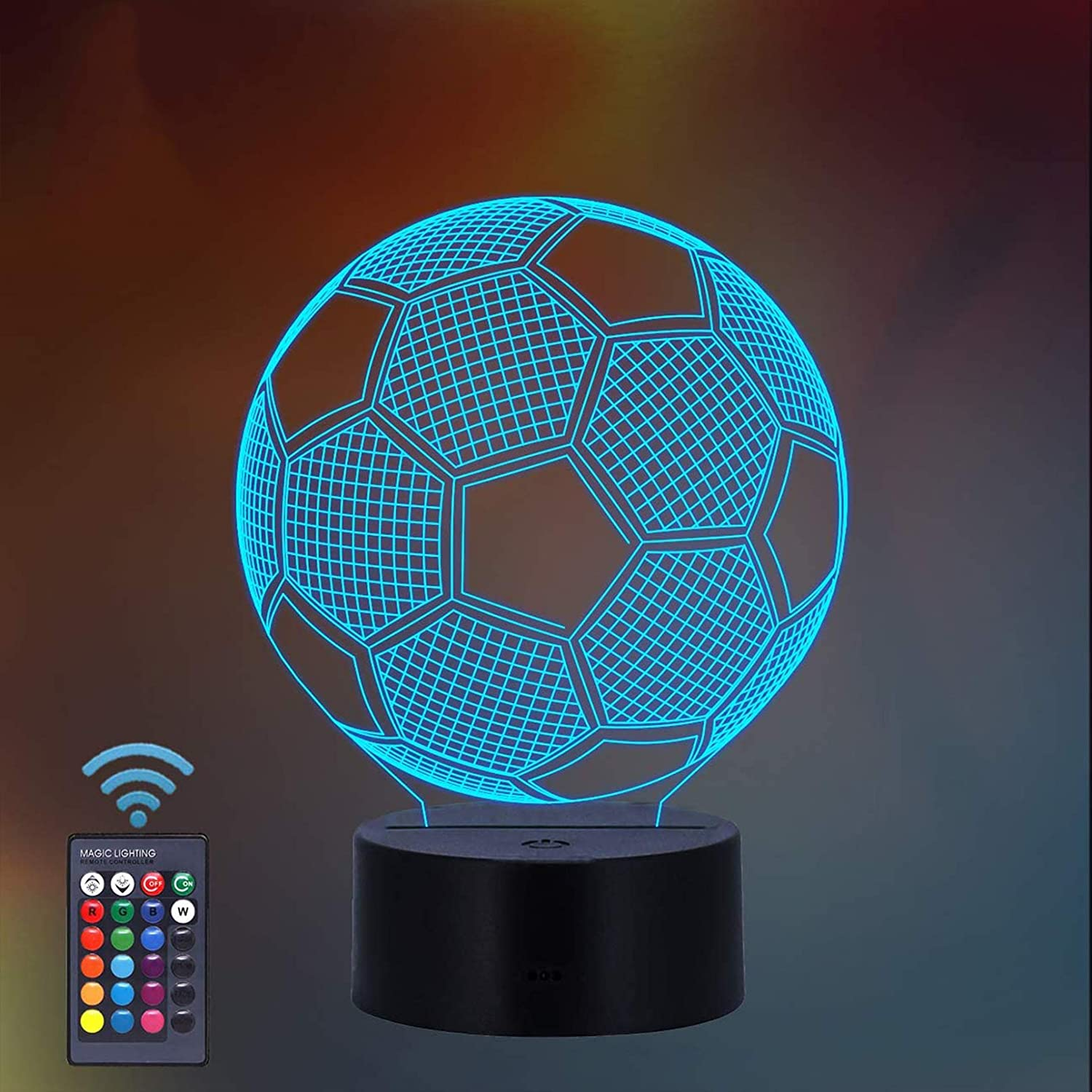 ThinkLess Soccer Night Light for Kids, 3D Illusion Lamp 16 Colors Changing Night Lamp with Remote Control, Soccer Fan Gifts for Age 2 3 4 5 6+ Years for Boy Girl Men Women