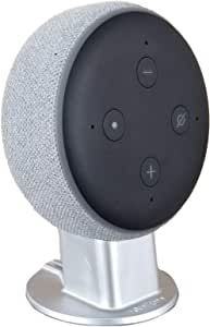 Mount Genie 3rd gen Pedestal Stand for Voice Assistants and Puck Speakers: [[AUS Compatible]] Improves Sound Visibility and Appearance - Cleanest Mount Holder Stand (Silver)