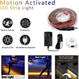 BRTLX Motion Activated Bed Light Strip,Waterproof,Dimmable Flexible 4.92ft LED Strip Kit,Automatic Shut Off,Timer for Night Light,Dark Corner,Under Bed,Cabinet,Staircase,Hallway