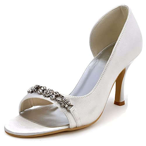 7062972a3b4 Sky-Pegasus sandals Women White Ivory Wedding Shoes Crystal High Heel Satin  Lady Bride Prom