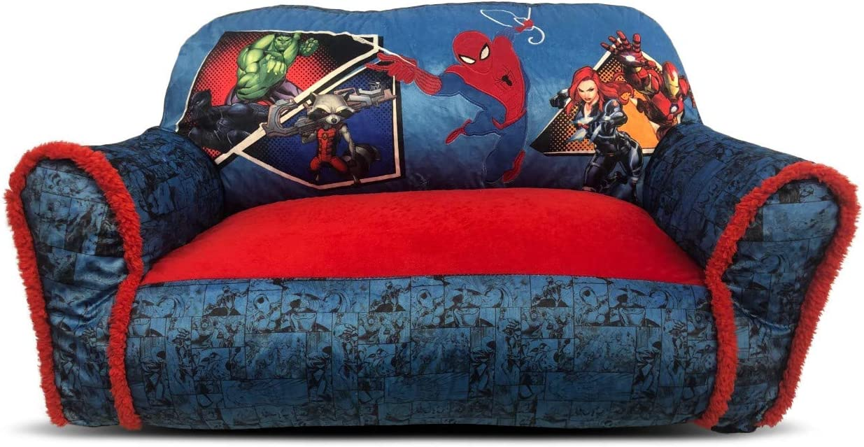 Marvel Avengers Cozy Double Bean Bag Sofa Chair with Sherpa Trim