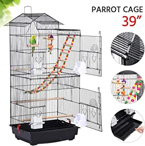 Yaheetech 39-inch Roof Top Large Flight Parrot Bird Cage for Small Quaker Parrot Cockatiel Sun Parakeet Green Cheek Conure Budgie Finch Lovebird Canary Pet Bird Cage w/Toys