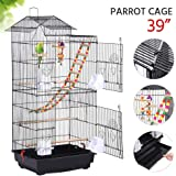 Yaheetech 18''L x 14''W x 39''H Roof Top Large Metal Bird Cage Parrot Cockatiel Conure Parakeet Budgie Finch Lovebird Pet Bird Cage w/1 Ladder & 2 Hanging Toys & 1 Swing