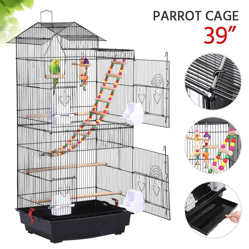Yaheetech 39''H Roof Top Large Metal Bird Cage Parrot Cockatiel Conure Parakeet Budgie Finch Lovebird Pet Bird Cage w/Toys