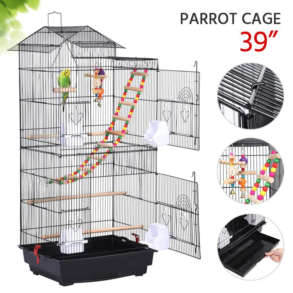 Yaheetech 39-inch Roof Top Large Flight Bird Cage for Small Quaker Parrots Cockatiels Sun Parakeets Green Cheek Conures Budgie Finch Lovebird Canary Pet Bird Cage w/Toys by Yaheetech