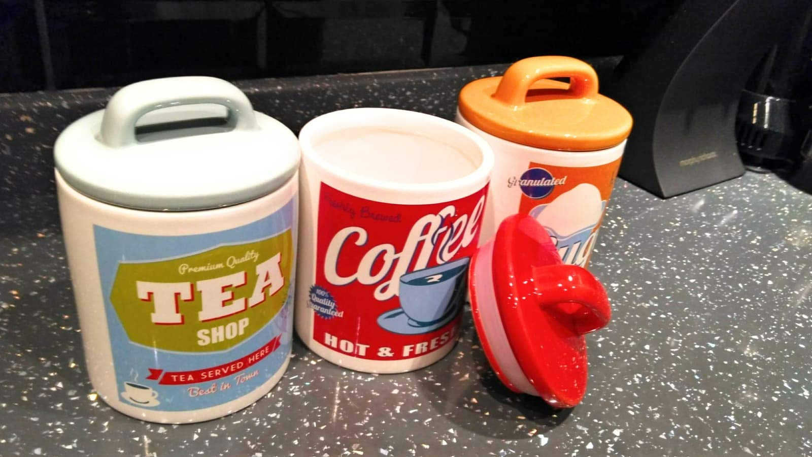 3 Ceramic Jars ,Tea Coffee Sugar Shop Canisters Retro 50's 60's Style
