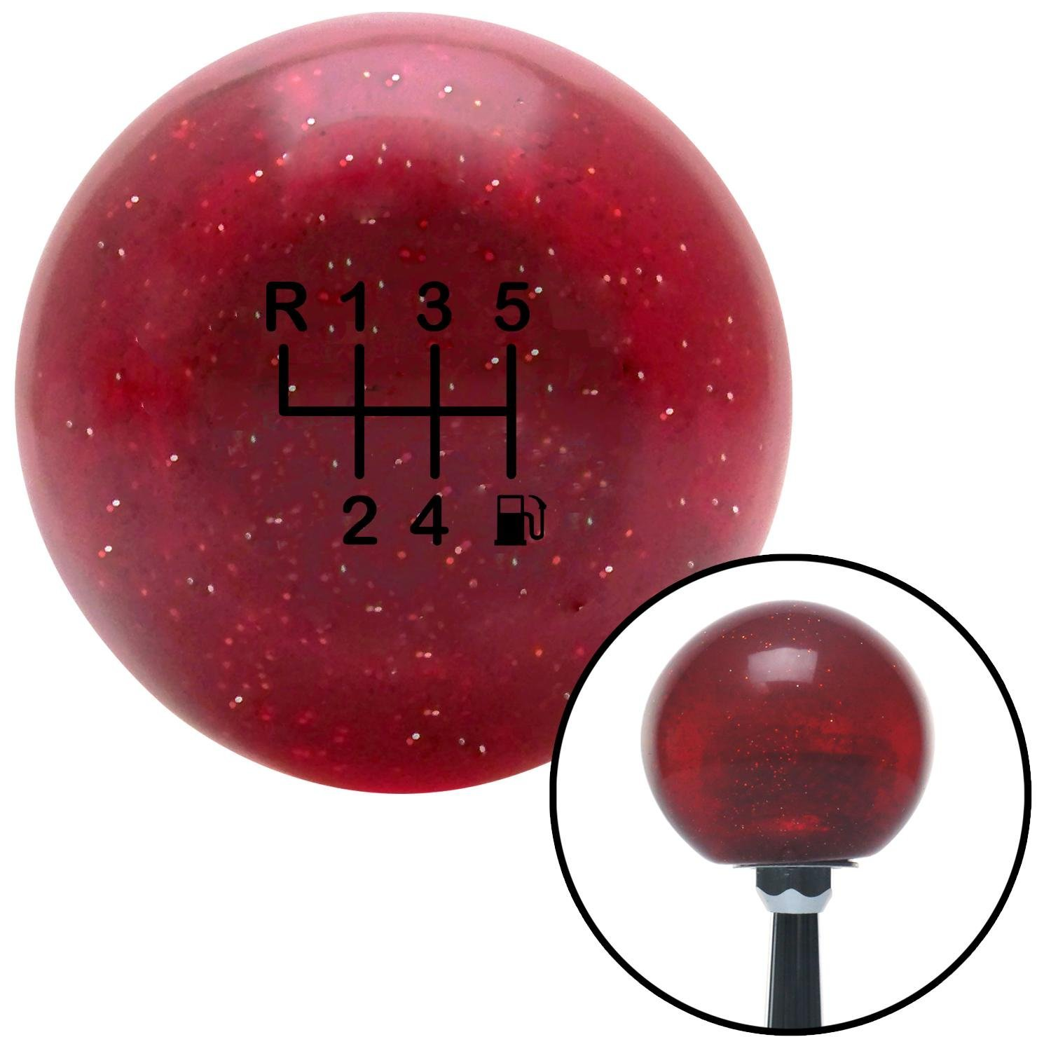 Black 6 Speed Shift Pattern - Gas 20 Red Metal Flake with M16 x 1.5 Insert American Shifter 282806 Shift Knob