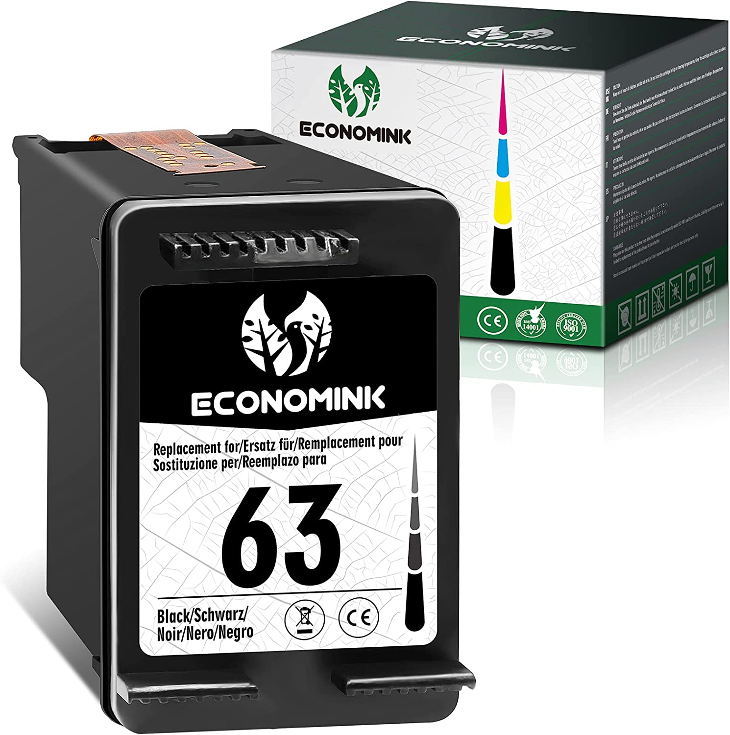 Economink Remanufactured Ink Cartridges Replacement for HP 63 Black High Yield Work with Envy 4520 3634 OfficeJet 3830 5252 4650 5258 4655 4652 5255 DeskJet 3636 1111 3630 1112 3637 3632 (1 Pack)