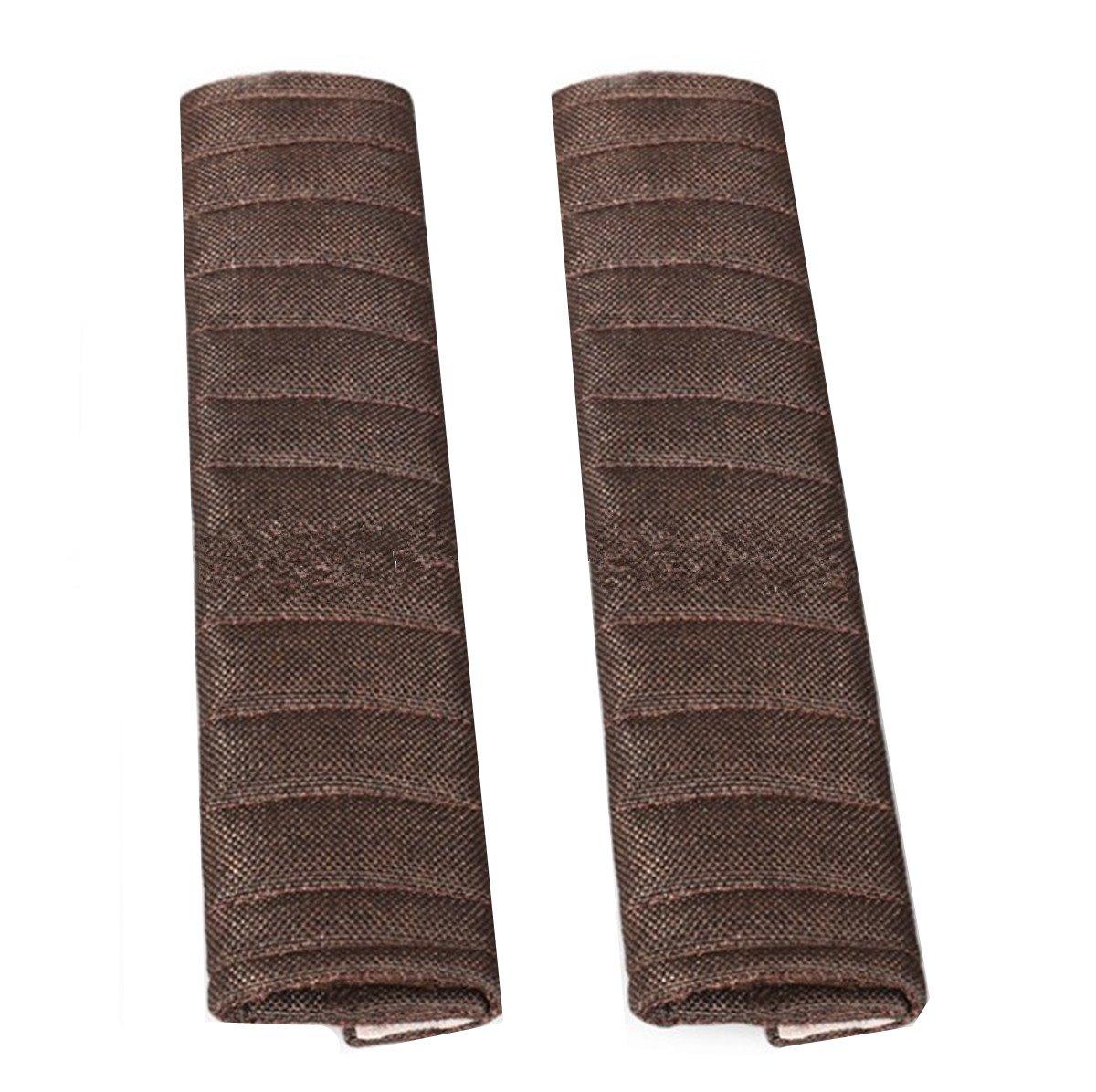 Fochutech 2Pcs Car Linen Seat Belt Shoulder Pad Strap Cover Adjuster Protector Comfortable Driving (Beige)