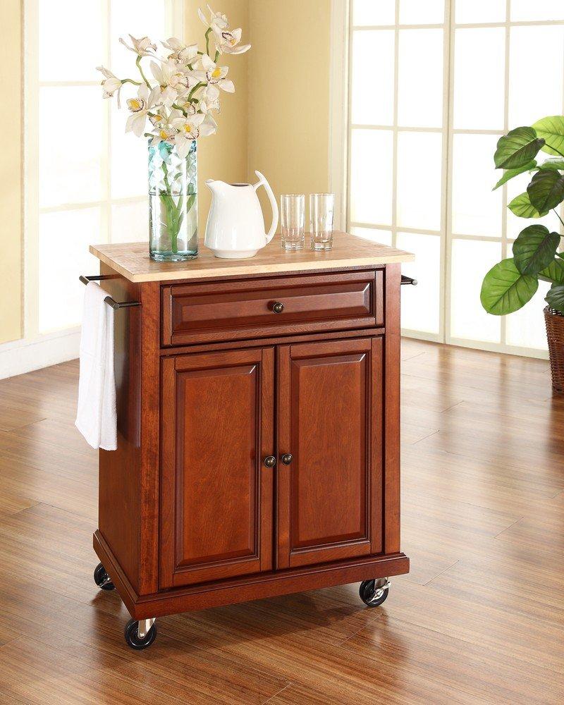 Crosley Furniture Kitchen Cart Amazoncom Crosley Furniture Natural Wood Top Portable Kitchen