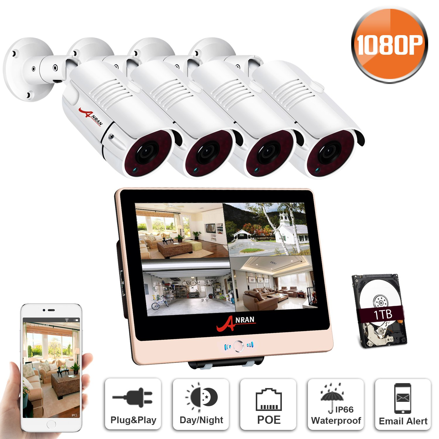 ANRAN 8Channel PoE Home Security Camera System 1080P with 1TB Hard Drive 4 Pack Outdoor Surveillance Cameras 12inch LCD Monitor NVR Plug and Play Free Remote Viewing Motion Detection SWINWAY by ANRAN
