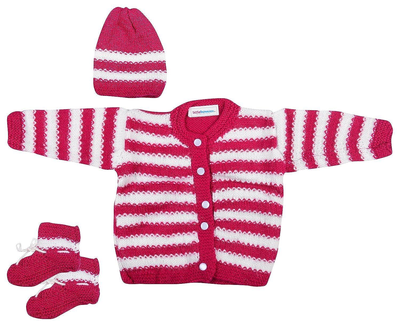 fe46e7d75 Little Bunnies Newborn Baby Woolen Sweaters Cap and Socks Set