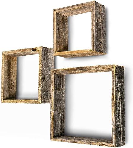 BarnwoodUSA Rustic Shelves, Square Floating Wood Shadowbox, Home Decor, Set of 3 Natural Weathered Gray