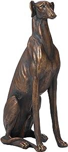Glitzhome GH20381 Dog Garden Statues Bronze Greyhound Sculpture 30.25 Inch Tall, Right
