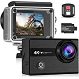 """IceFox Action Cam 4k, Ultra FHD Underwater Camera 30M, 2"""" LCD 170° Ultra Wide Angle Helmet Camera Waterproof Action Camera with 2 Rechargeable Batteries, Wifi Remote Bed"""