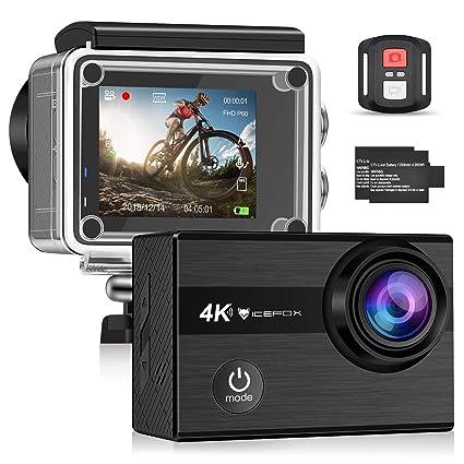 Icefox Cámara Deportiva WiFi 4k Ultra HD 20MP Action Camera Acuatica de 40M con 2 1350mAh Baterías y Cargador Externo, EIS Anti-Shaking y Time Lapse