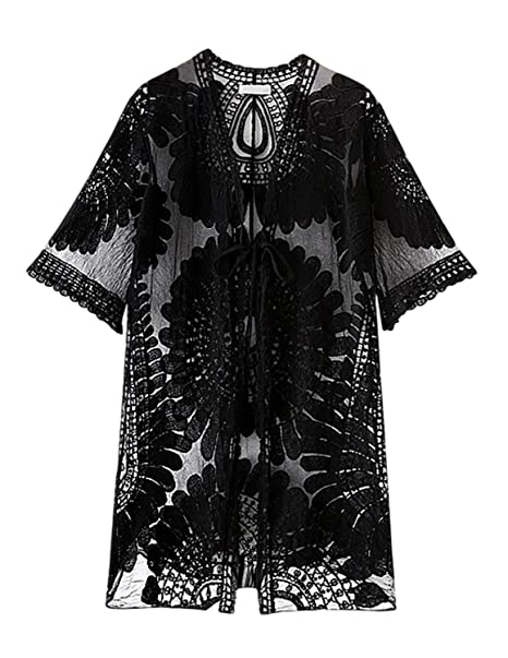 b14a95769c8 Miureal Women's Kimono Cardigan Sexy Lace Crochet Floral Beach Swimsuit  Cover Up, Black, One Size Fit 2-10 at Amazon Women's Clothing store: