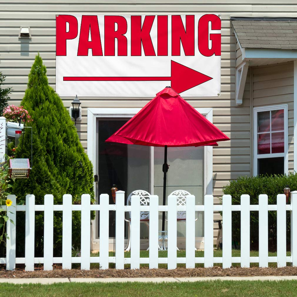 Multiple Sizes Available Vinyl Banner Sign Parking #1 Style B Business Parking Marketing Advertising Red 8 Grommets One Banner 48inx96in
