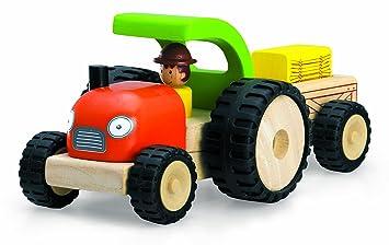 schon älter Holztraktor Traktor Holz mit Hänger farbig Spielzeug