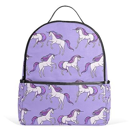 COOSUN Modelo púrpura del unicornio mochilas escolares mochilas para Niños Niñas Adolescentes Niños Medio Multicolor