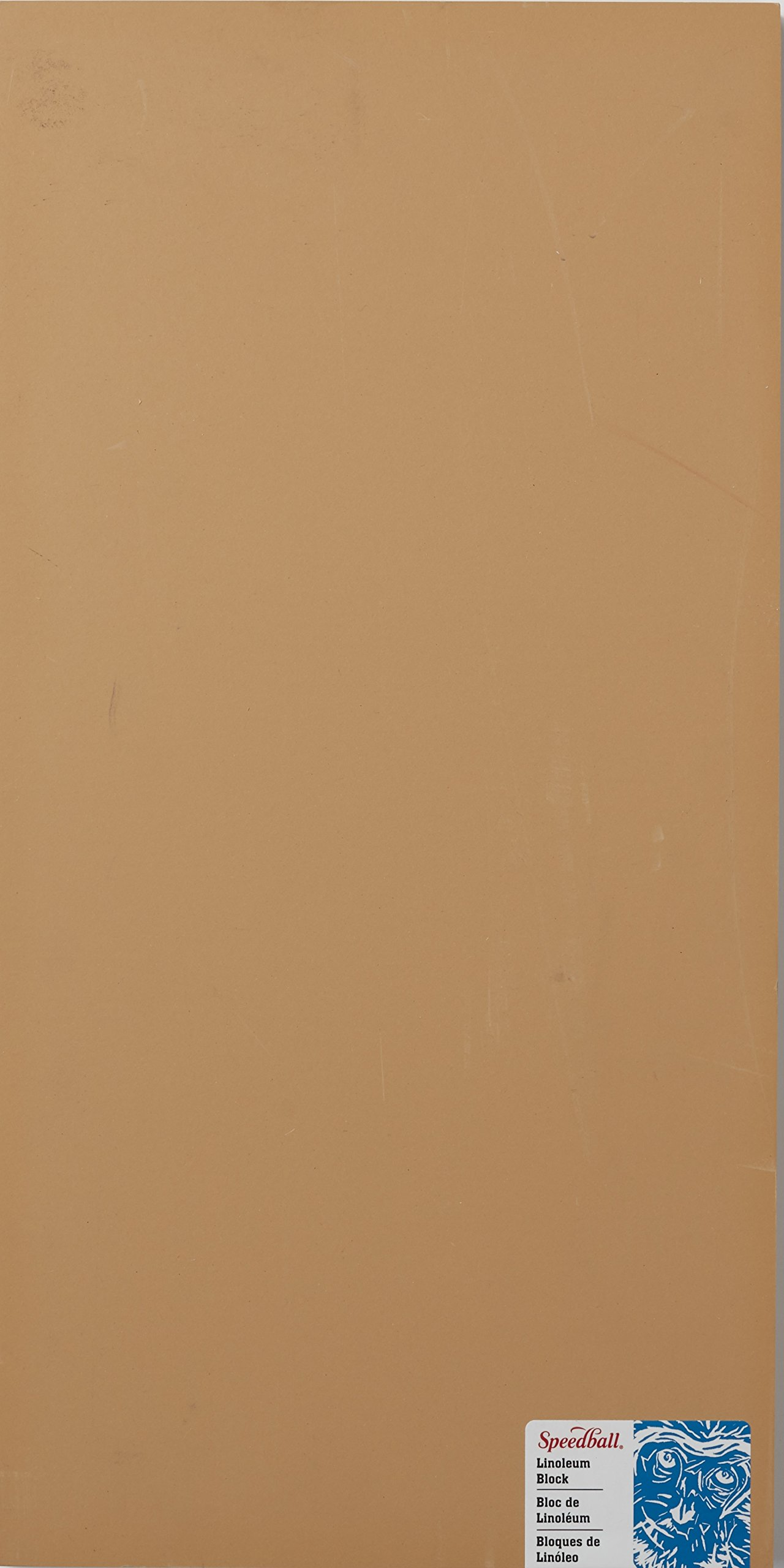 Speedball 4316 Premium Mounted Linoleum Block - Fine, Flat Surface for Easy Carving, Smoky Tan, 10 x 20 Inches by Speedball